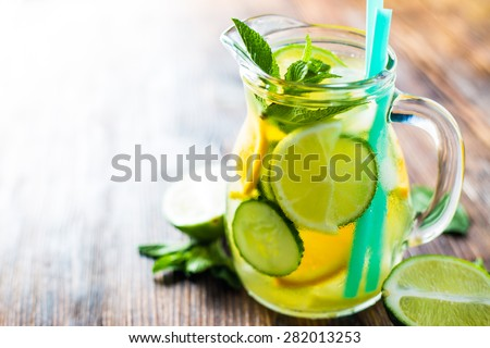 Fresh water with fruit