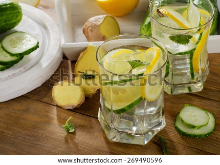 Fresh water with lemon, mint  and cucumber  on a wooden background. Selective focus