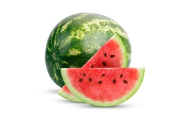 Fresh watermelon and slices of watermelon isolated on white background.