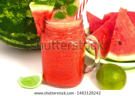 Fresh watermelon fresh with lime and mint