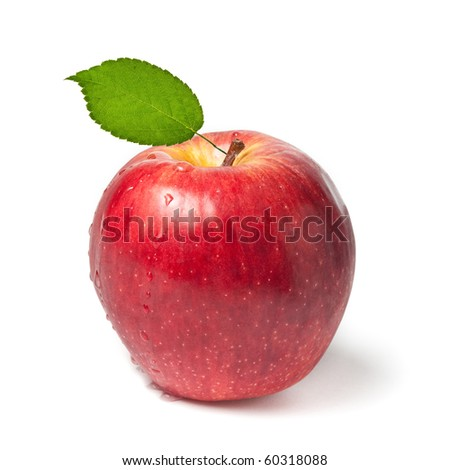 Fresh wet red apple with green leaf on white background