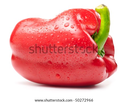 fresh wet red paprika isolated on white