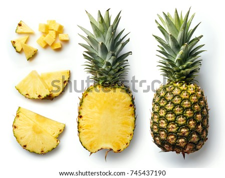 Fresh whole and cut pineapple isolated on white background. From top view