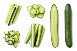 Fresh whole and sliced cucumber isolated on white background. Top view
