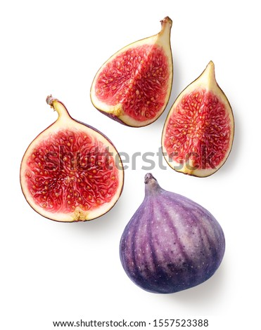 Fresh whole and sliced fig isolated on white background, top view Stockfoto ©