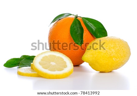 Fresh whole orange and lemon and slices on white background.