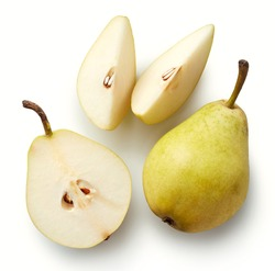 Fresh whole pear and slices isolated on white background. From top view