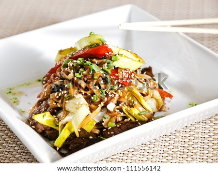 Fresh wok meal - stock photo