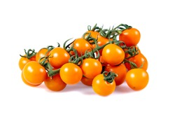 Fresh Yellow Baby plum tomatoes, on branch. isolated on white background