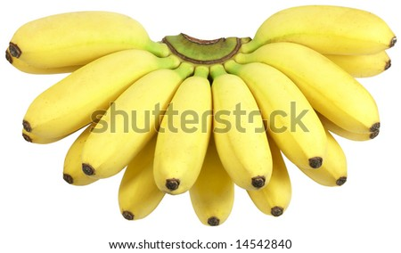 fresh yellow bananas isolated over white with clipping path