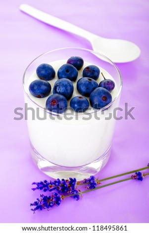 fresh yogurt with blueberry and spoon
