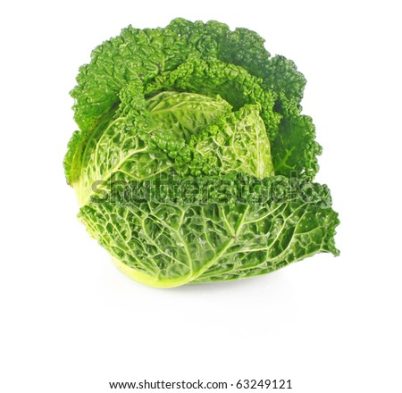 Fresh young green cabbage isolated on white background - stock photo