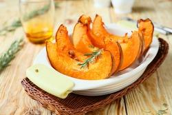 freshly baked and juicy slices of pumpkin, food