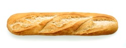 freshly baked baguette isolated on white background, top view