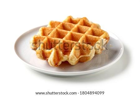 freshly baked belgian waffle isolated on white background Foto stock ©
