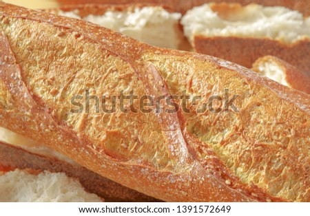 Freshly baked bread. Close up French baguette. #1391572649