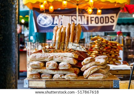 Freshly baked breads on display at Borough Market, London Сток-фото ©