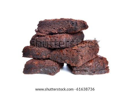 Freshly baked brownies on a white background