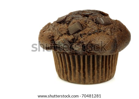 freshly baked chocolate muffin on a white background
