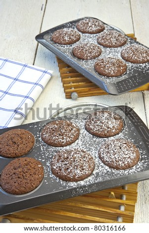 freshly baked chocolate muffins sprinkled with powdered sugar