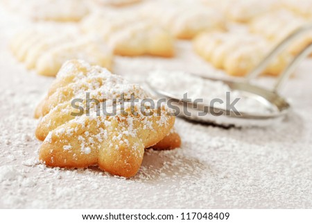 Freshly baked Christmas tree cookies sprinkled with confectioners sugar on parchment paper.  Stainless steel sugar duster in soft focus in background.  Macro with extremely shallow dof.