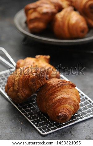 Freshly baked croissants on cooling rack. heap of Freshly baked croissants on dark background. French patisserie