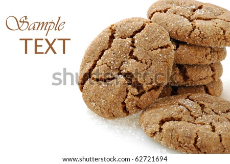 Freshly baked homemade ginger cookies on white background with copy space.  Macro with shallow dof.