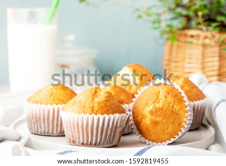 Freshly baked homemade muffins in white paper muffin cups and a glass of milk on the table. Tasty sweet breakfast, homemade cakes.