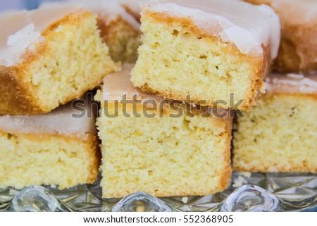 Freshly baked lemon drizzle cake