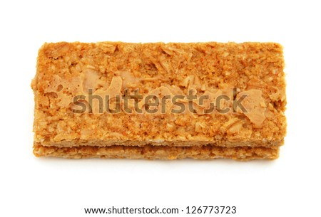 Freshly baked peanut butter cookies on white background
