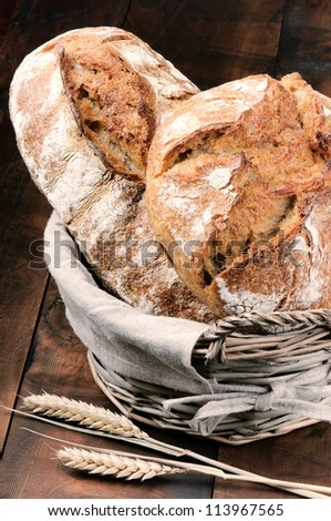 Freshly baked traditional bread in the basket