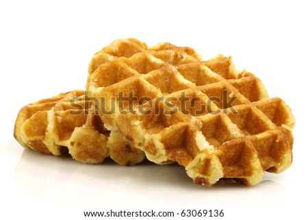 freshly baked waffles on a white background