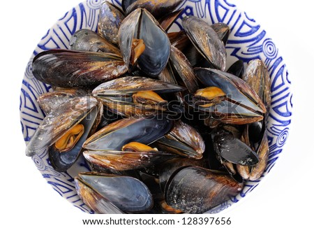 freshly boiled mussels in the pot