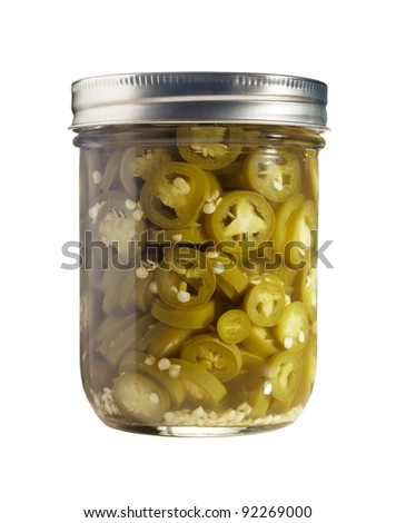 Freshly canned jalapenos (Capsicum Annuum) isolated on a pure white background. - stock photo
