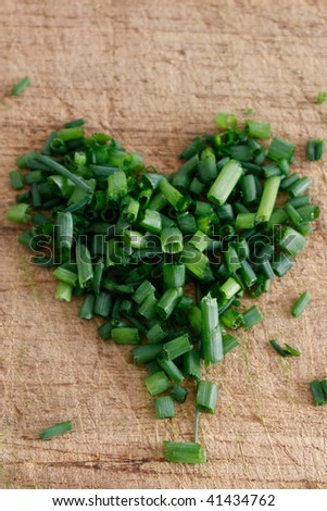Freshly chopped fragrant chives in a