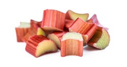 Freshly chopped Rhubarb isolated on white background as detailed close up shot