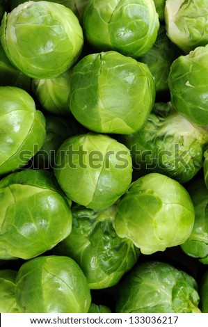 Freshly cleaned Brussels sprouts.