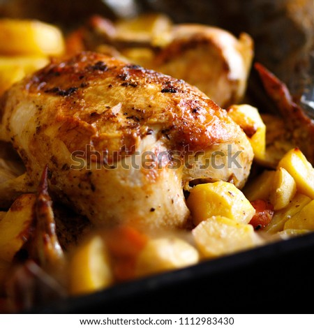 Freshly cooked chicken and fried potatoes. Fresh, festive dish. Fried turkey and potatoes. Close view. Cooked dishes.