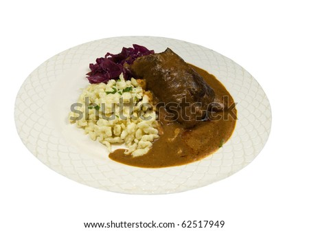freshly cooked rouladen with cabbage and spaetzle