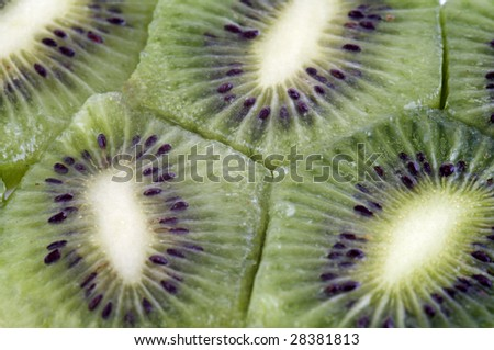 Freshly cut kiwi fruit