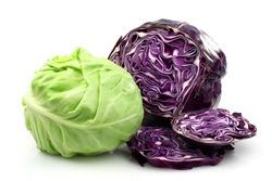 Freshly cut red and white cabbage on a white background