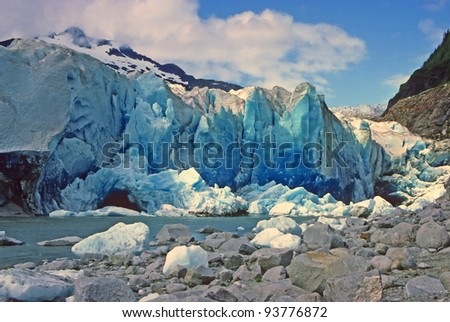 Freshly exposed glacial ice in the Mendenhall Glacier in Alaska