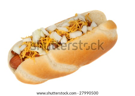 Freshly grilled chili cheese hot dog with onions