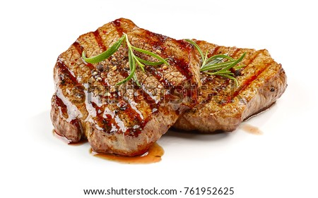 freshly grilled steak isolated on white background