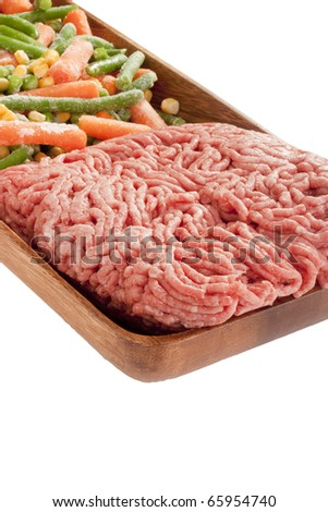 Freshly ground meat for cooking meat delicacies.