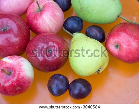 freshly grown ripe and tasty natural apples, plum, pear