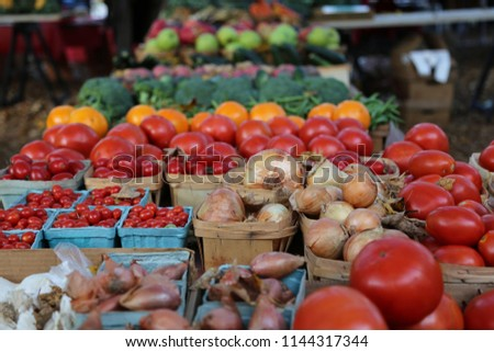 Freshly harvested Vegetables and Fruit Closeup at the Farmer's Market ストックフォト ©