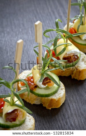 freshly made catering snacks
