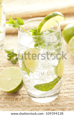 Freshly Made Mojito with Lime and mint leaves