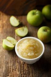 Freshly made organic apple puree